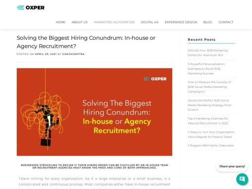 Solving the Biggest Hiring Conundrum: In-house or Agency Recruitment?