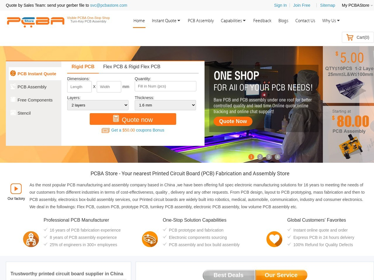 Online PCB Quote and PCB assembly quote system,PCBAStore.com