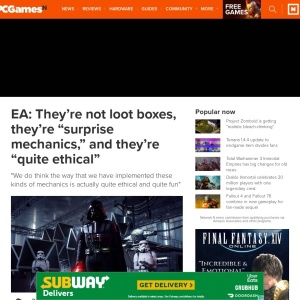 "EA: They're not loot boxes, they're ""surprise mechanics,"" and they're ""quite ethical"" 