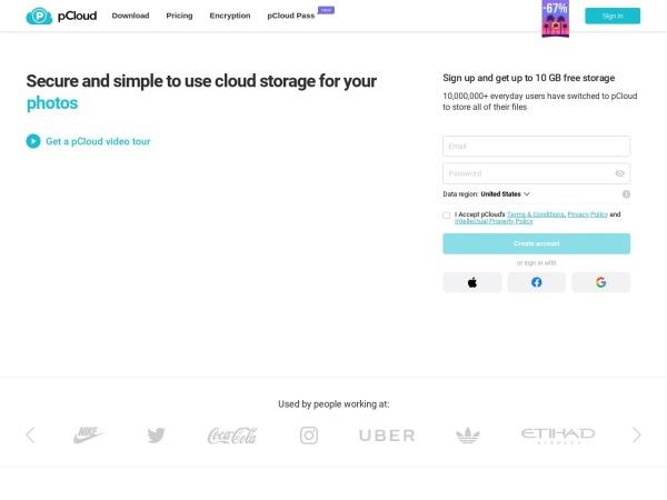 pCloud  - Best Free Cloud Storage Services (2020)
