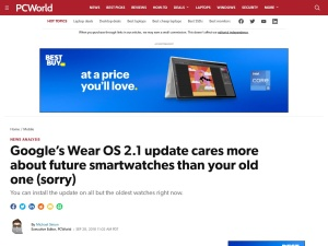 Google's Wear OS 2.1 update cares more about future smartwatches than your old one (sorry) | PCWorld