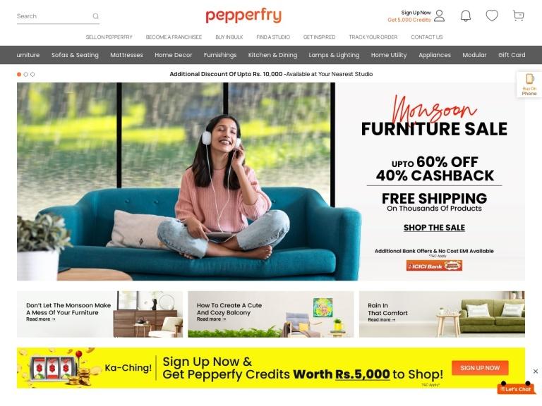 Pepperfry screenshot