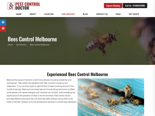 Pest Control Doctor- call on +61480018996 for Bees Control services in Melbourne
