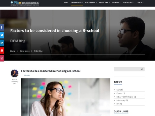 Factors to be considered in choosing a B-school | Best MBA Courses in Pune