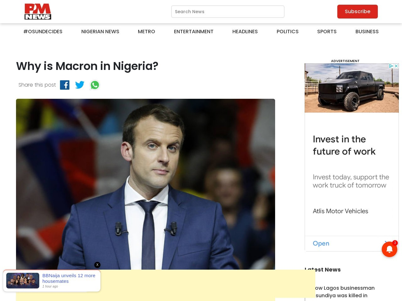 Why is Macron in Nigeria?