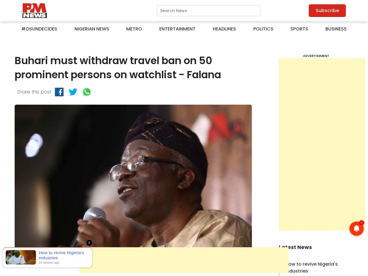 Buhari must withdraw travel ban on 50 prominent persons on watchlist – Falana