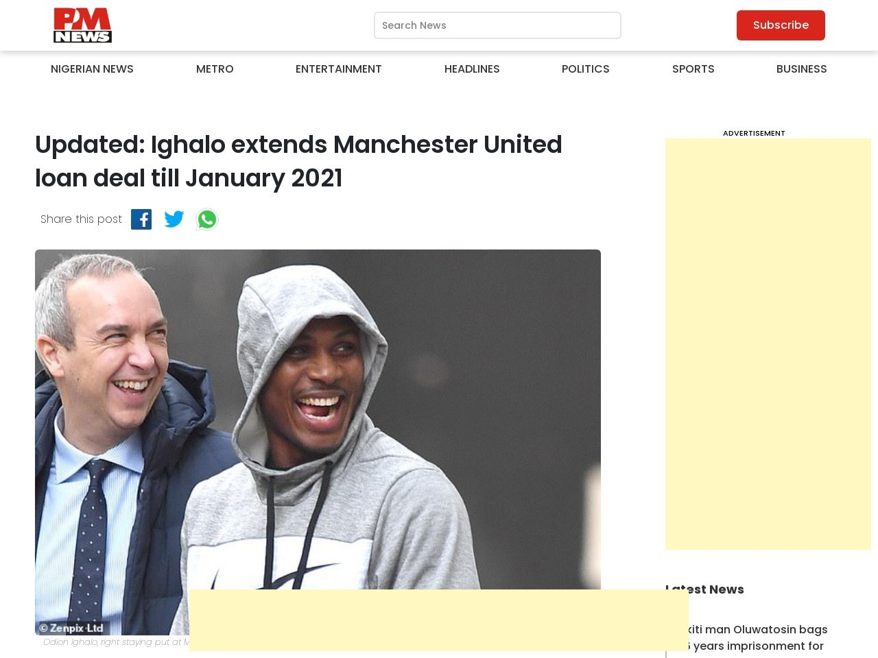 JUST IN: Ighalo extends Manchester United loan deal till January 2021