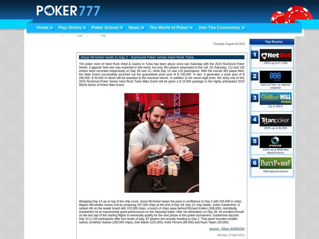 Jesse McVicker leads to Day 2 – RunGood Poker Series Hard Rock Tulsa