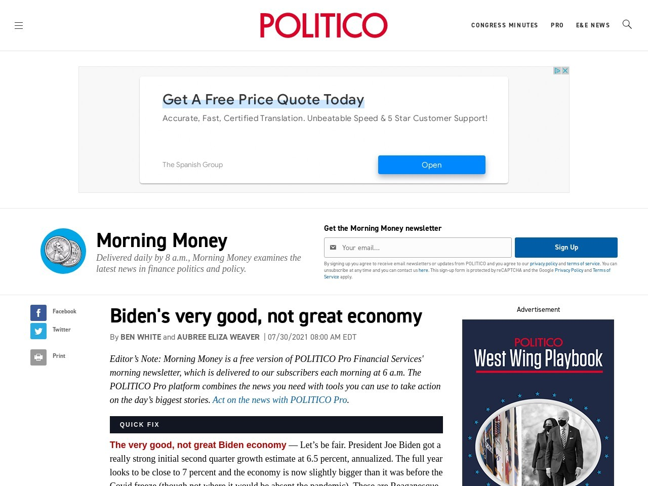 Biden's very good, not great economy – POLITICO – Politico
