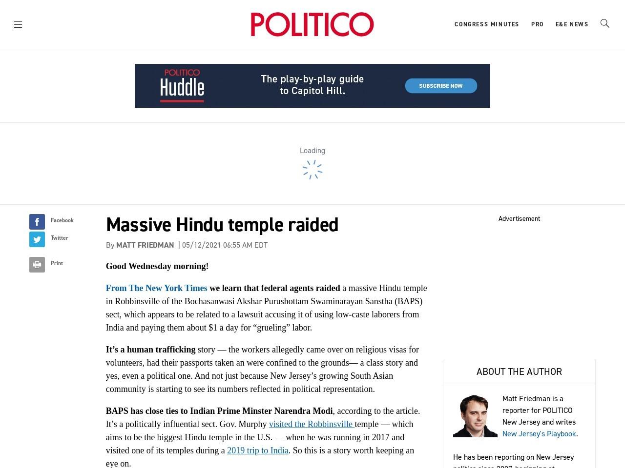 Massive Hindu temple raided – POLITICO – Politico