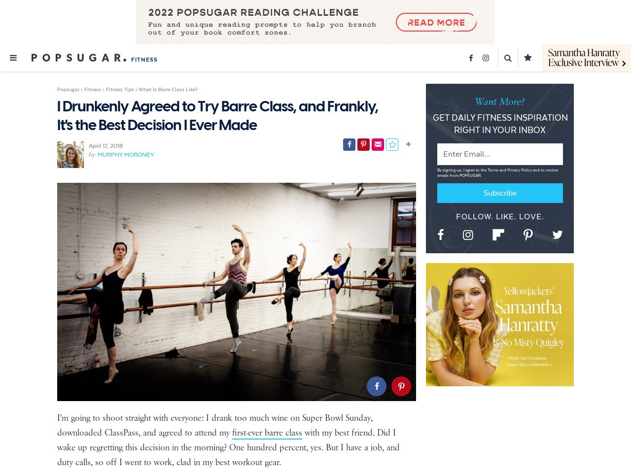 I Drunkenly Agreed to Try Barre Class, and Frankly Its the Greatest…