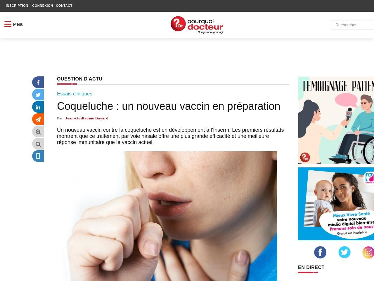 Coqueluche : un nouveau vaccin en préparation
