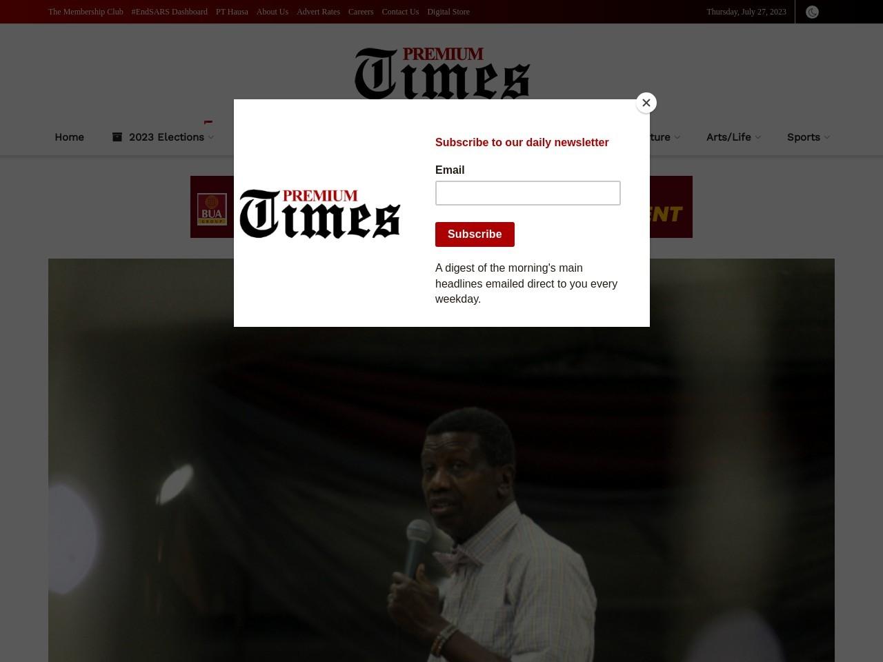 Benue, other killings may destroy Nigeria, Pastor Adeboye warns