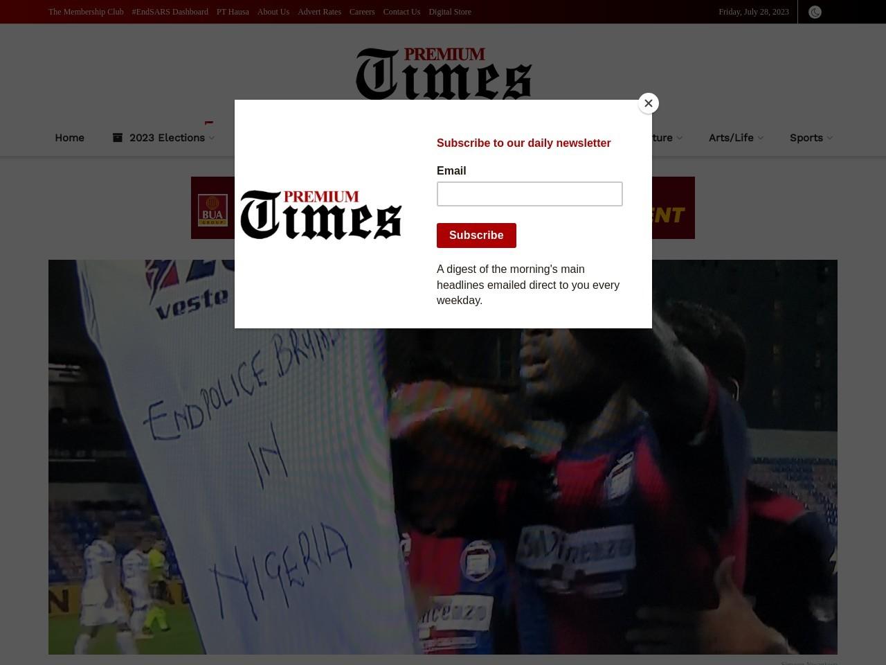 #EndSARS: Nigerian striker shows solidarity after scoring against Juventus