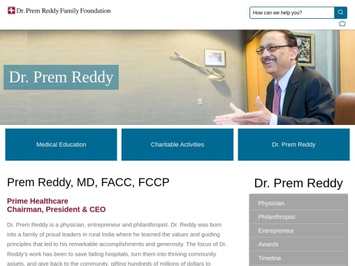 Dr. Prem Reddy will be the organization's Chair for the 2021 calendar year