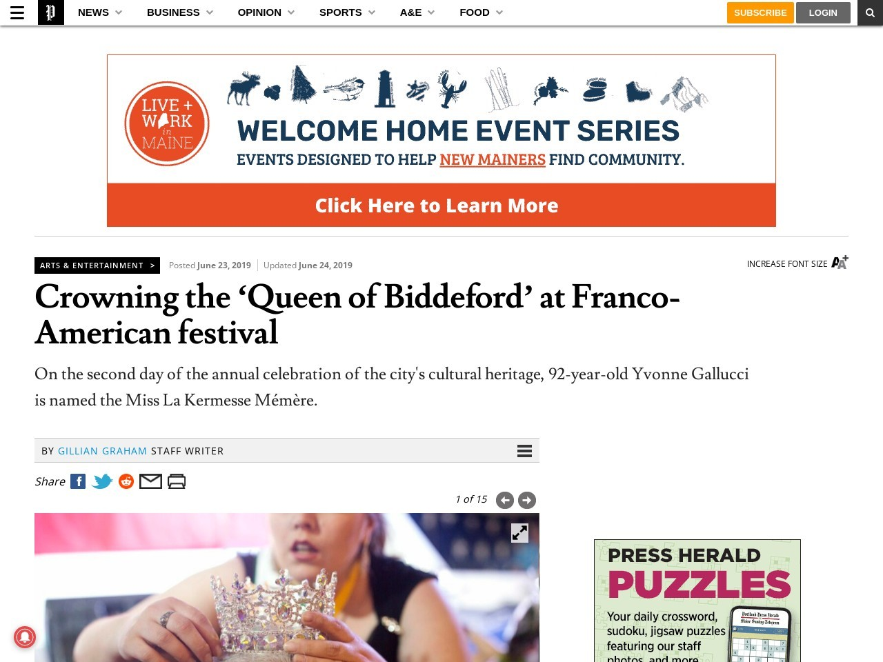 Crowning the 'Queen of Biddeford' at Franco-American festival