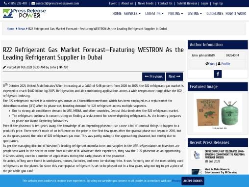 R22 Refrigerant Gas Market Forecast—Featuring WESTRON As the Leading Refrigerant Supplier in Dubai