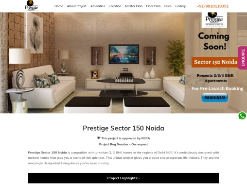 Carry on  Eye-Popping life at Prestige Sector 150 Noida