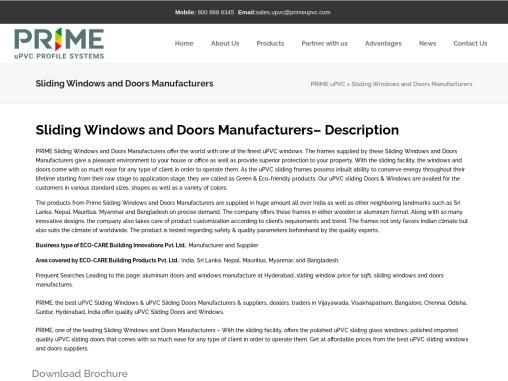 uPVC Sliding Windows & Doors Manufacturers in Vijayawada, Bangalore