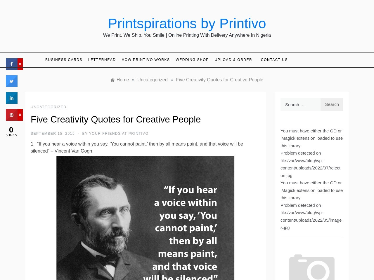 Five Creativity Quotes for Creative People | Printspirations …