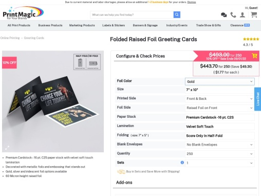 Print  Folded Raised Foil Greeting Cards from PrintMagic