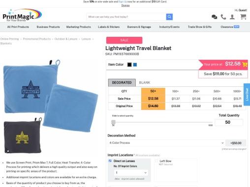 Lightweight Travel Blanketx on PrintMagic