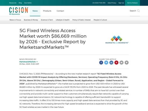 5G Fixed Wireless Access Market worth $86,669 million by 2026 – Exclusive Report by MarketsandMarket