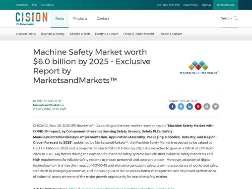 Machine Safety Market worth $6.0 billion by 2025 – Exclusive Report by MarketsandMarkets™