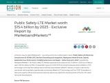 Public Safety-LTE Market worth $15.4 billion by 2025