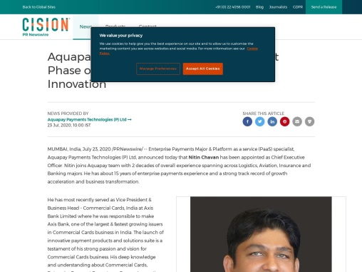 Aquapay Appoints New CEO to Lead Next Phase of Enterprise Payments Growth & Innovation