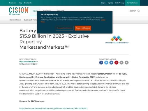 Battery Market for IoT Worth $15.9 Billion in 2025 – Exclusive Report by MarketsandMarkets™