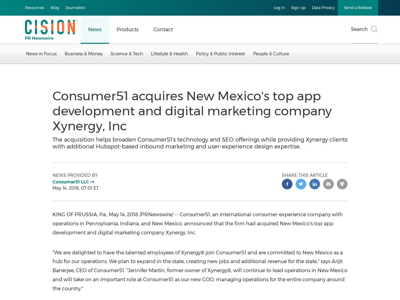 Consumer51 acquires New Mexico's top app development and digital marketing company Xynergy, Inc