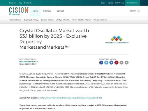 Crystal Oscillator Market Size Growth Forecast to 2025