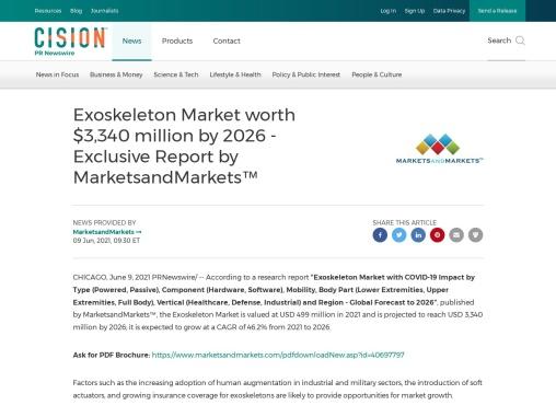 Exoskeleton Market worth $3,340 million by 2026