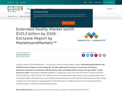 Extended Reality Market worth $125.2 billion by 2026