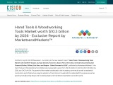 Hand Tools & Woodworking Tools Market worth $10.3 billion by 2026