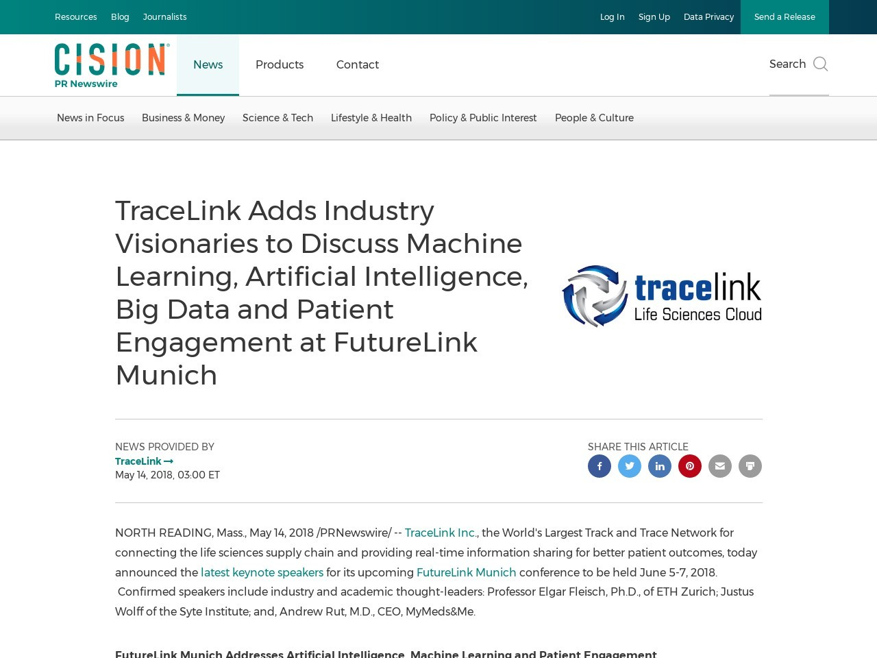 TraceLink Adds Industry Visionaries to Discuss Machine Learning, Artificial Intelligence, Big Data and Patient …