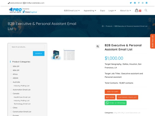 B2B Executive Personal Assistant Email List | Personal Assistant Contact List