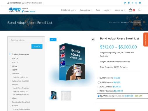 Buy Bond Adapt Users Email List   Bond Adapt Users Database