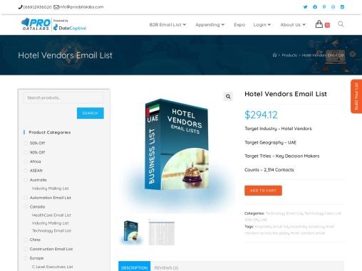 Validated Hotel Vendors Customers Database | Mailing Address