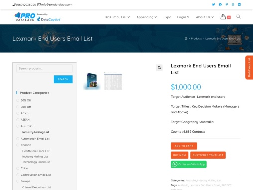 Buy Lexmark End Users Email List   Online Lexmark Customers Lists   USA