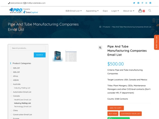 Pipe and Tube Manufacturing Companies Email List | 3,168 List only $300