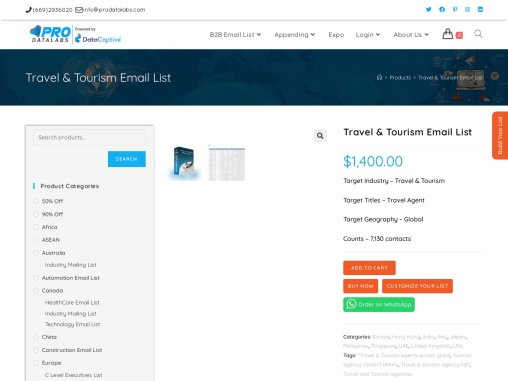High Quality Travel and Tourism Email Database In USA