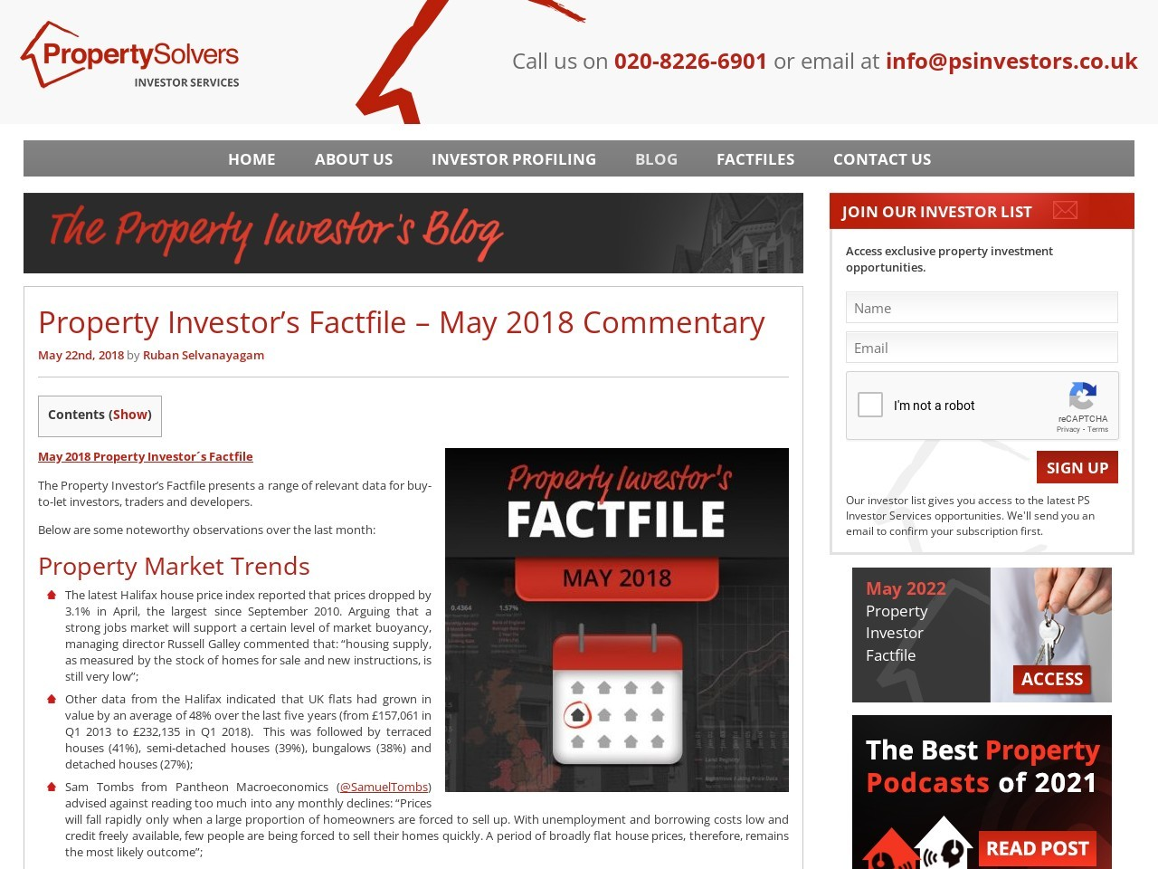 Property Investor's Factfile – May 2018 Commentary