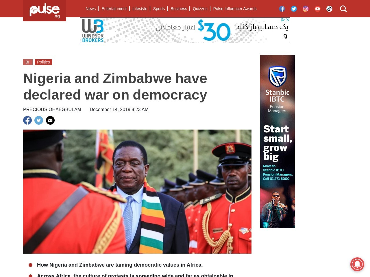 Nigeria and Zimbabwe have declared war on democracy