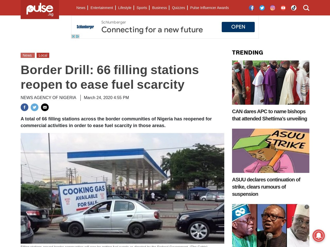 Border Drill: 66 filling stations reopen to ease fuel scarcity