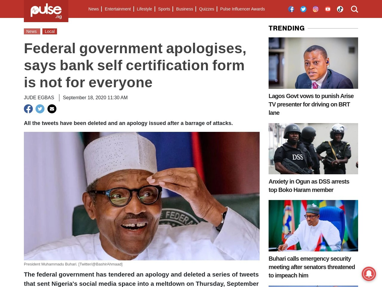 Federal government apologises, says bank self certification form is not for everyone