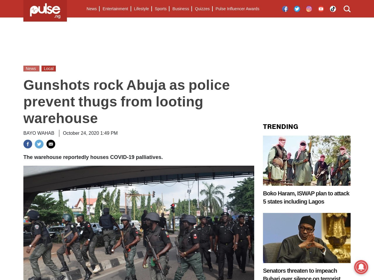 Gunshots rock Abuja as police prevent thugs from looting warehouse