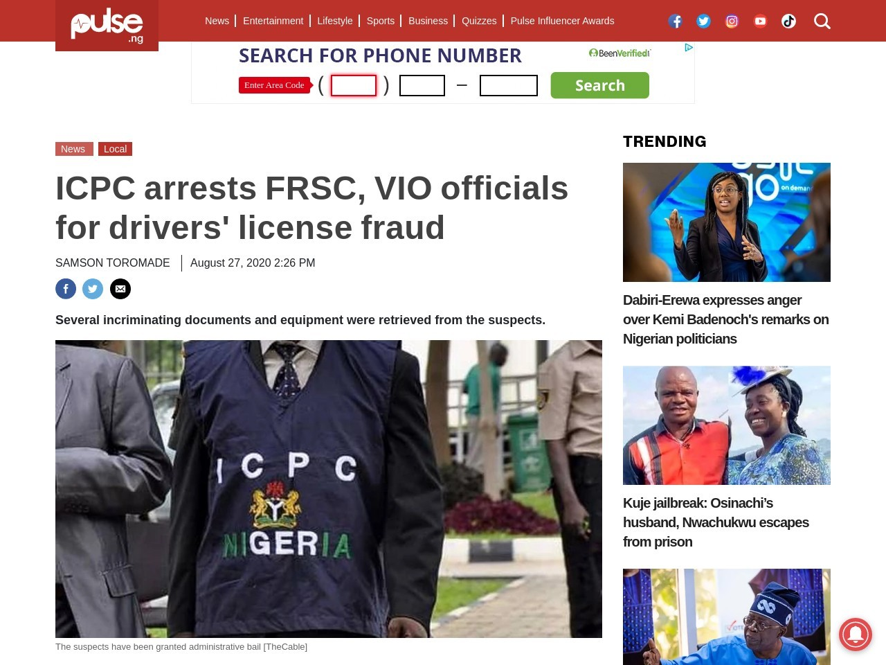 ICPC arrests FRSC, VIO officials  for drivers' license fraud