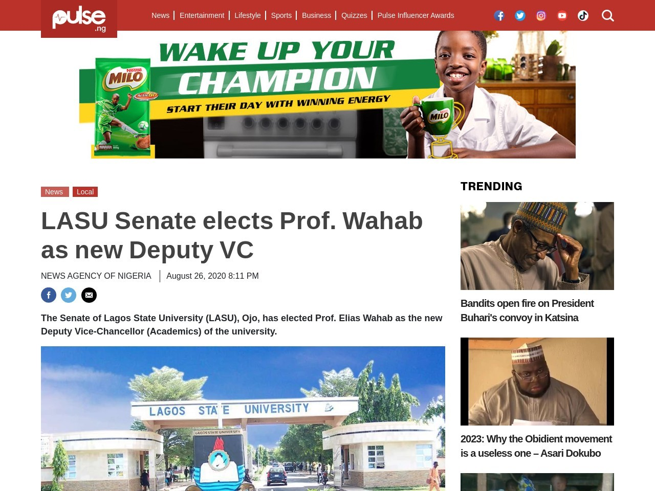 LASU Senate elects Prof. Wahab as new Deputy VC